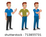 young male gestures | Shutterstock .eps vector #713855731