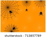 black spider and spider web on... | Shutterstock .eps vector #713857789
