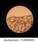 Small photo of Compact powder on black background./ Compact powder.