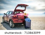 summer car and sea  | Shutterstock . vector #713863099