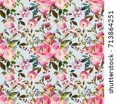 pink watercolor floral drop... | Shutterstock . vector #713864251