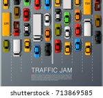 road cars transport  traffic...   Shutterstock .eps vector #713869585