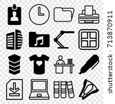 office icons set. set of 16... | Shutterstock .eps vector #713870911