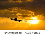 silhouette from a take off... | Shutterstock . vector #713871811