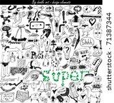 vector set   doodles   arrows   ... | Shutterstock .eps vector #71387344