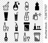 bottle icons set. set of 16... | Shutterstock .eps vector #713873707