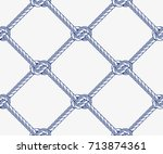 seamless rope net with knots... | Shutterstock .eps vector #713874361
