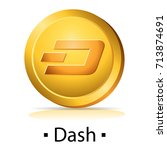 dash. gold coin with... | Shutterstock .eps vector #713874691