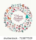 merry christmas hand drawn... | Shutterstock .eps vector #713877529