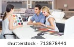 couple are consulting with... | Shutterstock . vector #713878441