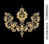 golden pattern on a black... | Shutterstock . vector #713880061
