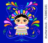 mexican doll with decorative... | Shutterstock .eps vector #713880181