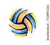 colorful volleyball silhouette... | Shutterstock .eps vector #713891161