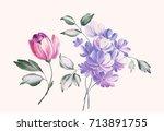 graceful flowers  the leaves... | Shutterstock . vector #713891755