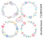 hand drawn vector floral wreath ... | Shutterstock .eps vector #713892349