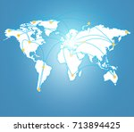world connection concept.... | Shutterstock . vector #713894425