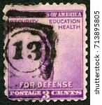 Small photo of MOSCOW, RUSSIA - MAY 17, 2015: A stamp printed in USA shows Torch of Enlightenment, National Defense Issue, 1940