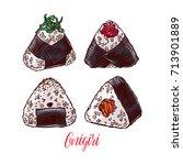 asian food. cute set of... | Shutterstock .eps vector #713901889