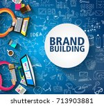 brand building concept with... | Shutterstock .eps vector #713903881
