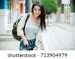 lifestyle fashion portrait of... | Shutterstock . vector #713904979