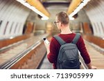traveling by public... | Shutterstock . vector #713905999