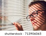 curious man with eyeglasses...   Shutterstock . vector #713906065
