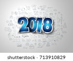 2018 new year infographic and... | Shutterstock .eps vector #713910829
