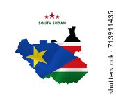 south sudan map with waving...