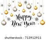 happy holidays postcard... | Shutterstock .eps vector #713912911