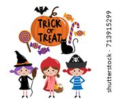 halloween  trick or treat kids | Shutterstock .eps vector #713915299