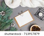 christmas card mock up on grey... | Shutterstock . vector #713917879