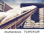 white sugar bags stuffing into...   Shutterstock . vector #713919139