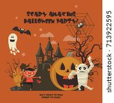 happy halloween vector greeting ... | Shutterstock .eps vector #713922595