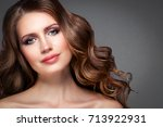 beautiful woman face with... | Shutterstock . vector #713922931