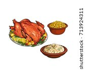 whole roasted turkey  mashed... | Shutterstock .eps vector #713924311