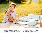 portrait of little girl... | Shutterstock . vector #713926369