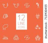 set of 12 bio outline icons set.... | Shutterstock .eps vector #713930455