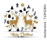 merry christmas lettering... | Shutterstock .eps vector #713932801