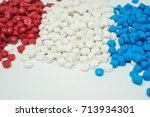 white red and blue plastic... | Shutterstock . vector #713934301