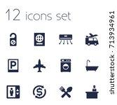 set of 12 motel icons set... | Shutterstock .eps vector #713934961