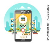 taxi service mobile application.... | Shutterstock .eps vector #713936839