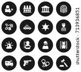 set of 16 criminal icons set... | Shutterstock .eps vector #713936851