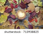 a cup of coffee with cappuccino ... | Shutterstock . vector #713938825