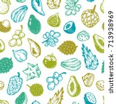 pattern with vector exotic... | Shutterstock .eps vector #713938969