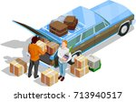 people moving to new house and... | Shutterstock .eps vector #713940517