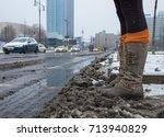 A Woman Running Through Dirty...