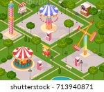 summer amusement park for... | Shutterstock .eps vector #713940871