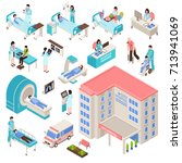 hospital isometric set with... | Shutterstock .eps vector #713941069