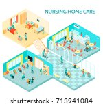 nursing home care facility... | Shutterstock .eps vector #713941084
