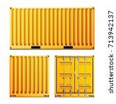 yellow cargo container vector.... | Shutterstock .eps vector #713942137